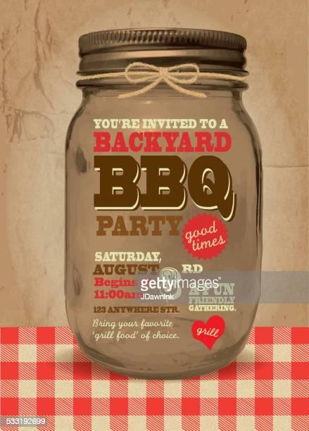 Mason Jar BBQ picnic invitation design template