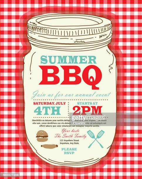 Mason Jar BBQ with checkered tablecloth picnic invitation design template