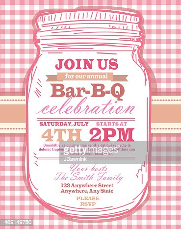 Mason Jar Bbq With Pink Tablecloth Picnic Invitation Design