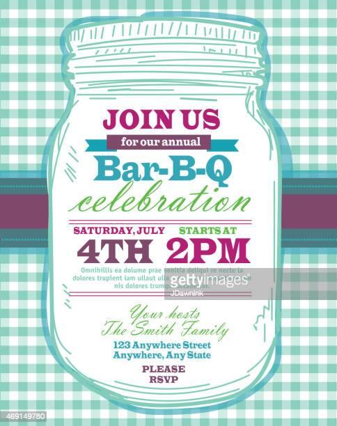 mason jar bbq with teal tablecloth picnic invitation design template