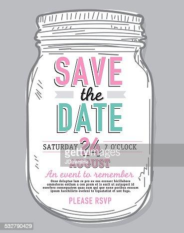 mason jar save the date wooden background invitation design, Invitation templates