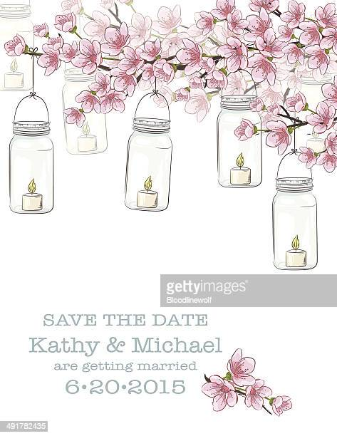 Mason Jars & Flowers Wedding Invitation Template