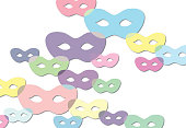 Masquerade masks (desaturated colors) on white background, vector illustration.