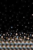 Colored diamond shapes on black background, vector illustration.