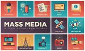 Set of modern vector flat design mass media icons and mass media pictograms. Tv, newspaper, blog, internet, radio satellite, megaphone, broadcasting, camera, snapshot