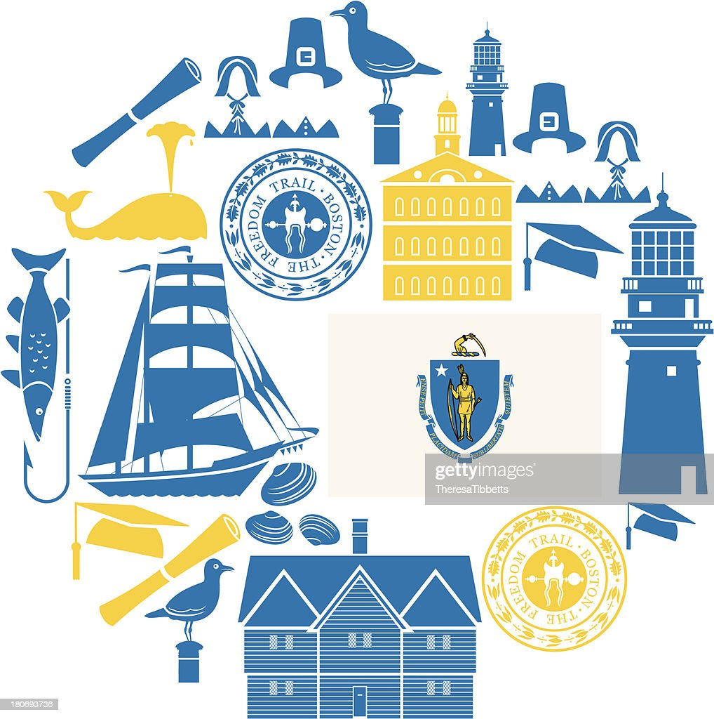 Massachusetts icon set vector art getty images for Ma fishing license cost