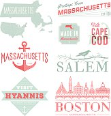A set of vintage-style icons and typography representing the state of Massachusetts, including Boston, Salem, Hyannis and Cape Cod. Each items is on a separate layer. Includes a layered Photoshop docu