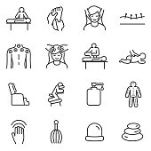 Massage linear icons set. relaxing spa and medical massage of various parts of the body, acupuncture.Line with editable stroke