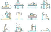 Massage therapy spa physiotherapy vector line medical icons. Therapeutic symbols and recuperation, physiotherapist rehabilitation illustration