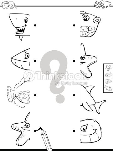 Coincidir Con Mitades De Animales Para Colorear Libro Arte vectorial ...
