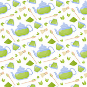 Matcha tea vector flat seamless pattern, set of flat icon designs of green powder tea ceremony objects isolated on the white background, cute vector illustration with reflections