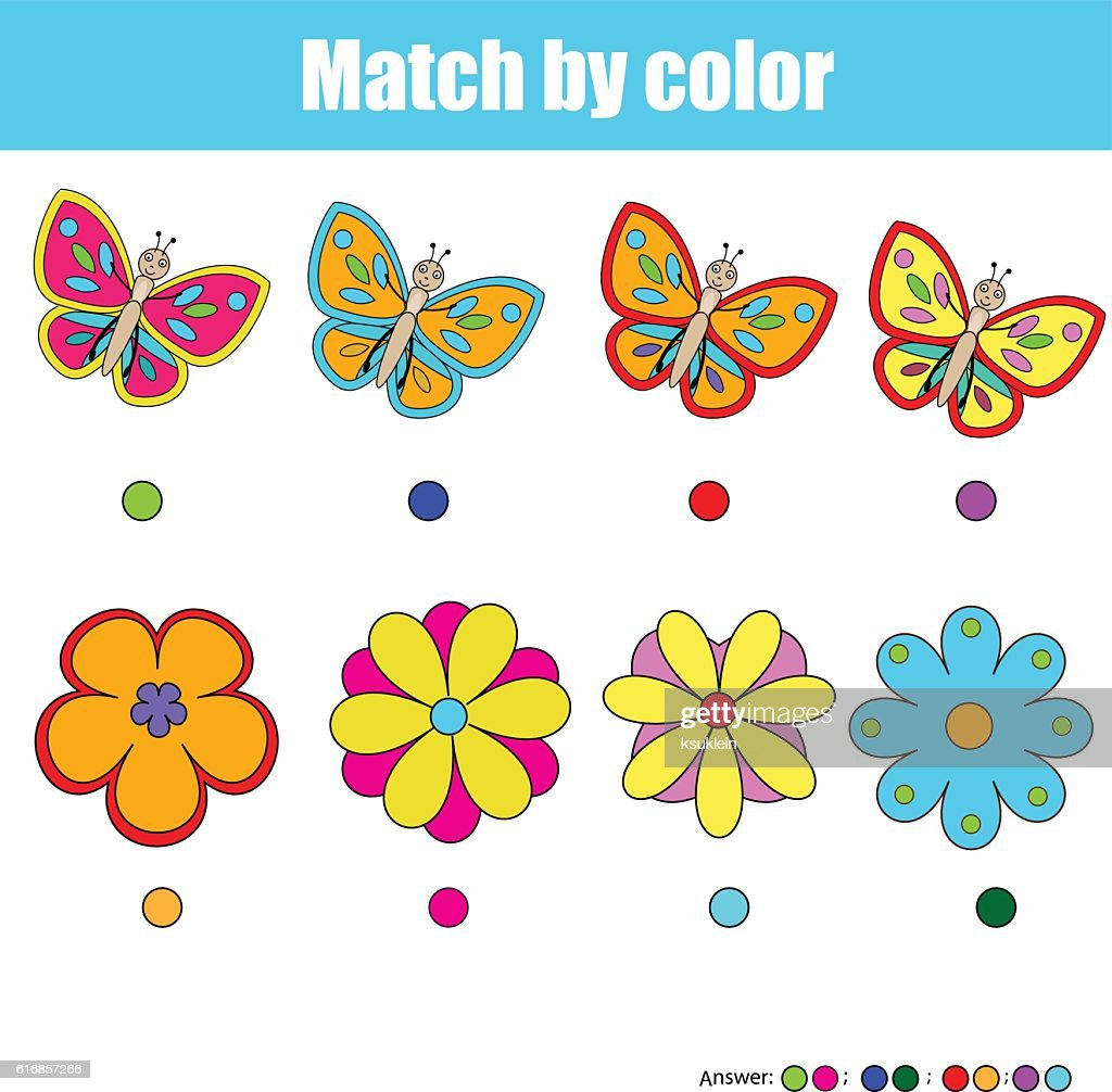 Matching children educational game, match by color : Vector Art