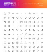 Material design arrow icons set. Thin line pixel perfect icons. Premium quality icons for website and app design.