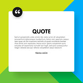 Material design style background and quote rectangle with sample text information vector illustration template.