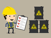 Check list, Safety and accident, Industrial safety cartoon, Vector illustration