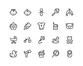 maternity and childhood icon set, outline style