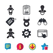 Maternity icons. Baby infant, pregnancy and dummy signs. Child pacifier symbols. Shirt with heart. Browser window, Report and Service signs. Binoculars, Information and Download icons. Stars and Chat