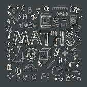 Maths hand drawn vector illustration with doodle mathematical formulas, numbers and objects, isolated on black background