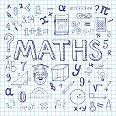 Maths hand drawn vector illustration with doodle mathematical formulas, numbers and objects, isolated on exercise book sheet
