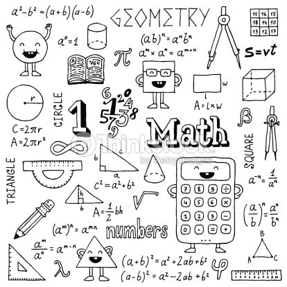 Mathematics Hand Drawn Vector Illustration Black And White