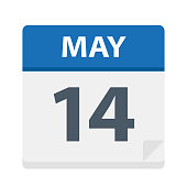 May 14 - Calendar Icon - Vector Illustration