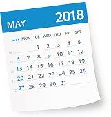 May 2018 Calendar Leaf - Vector Illustration