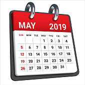 May 2019 monthly calendar vector illustration, simple and clean design.