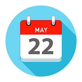 May 22 Date on a Single Day Calendar in Flat Style with long flat shadow on a blue background