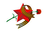 May 9 Russian USSR red army holiday Great Victory day. Big red star, figure nine from St. George's ribbon, carnation. Excellent vector illustration gift card banner on white background