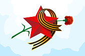 May 9 Russian USSR red army holiday Great Victory day. Big red star, figure nine from St. George's ribbon, carnation. Excellent vector illustration gift card banner on light blue background