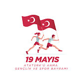 19 mayis Ataturk'u Anma, Genclik ve Spor Bayrami greeting card design. 19 May Commemoration of Ataturk, Youth and Sports Day. Vector illustration. Turkish national holiday. Commemorate Mustafa Kemal's