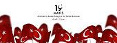 19 may, Commemoration of Atatürk, Youth and Sports Day, (19 mayıs, Atatürk'ü anma gençlik ve spor bayramı.) vector illustration.