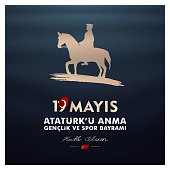 19 may, Commemoration of Atatürk, Youth and Sports Day, (19 mayıs, Atatürk'ü anma gençlik ve spor bayramı.) vector illustration.