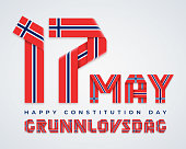 Congratulatory design for 17 May, Norway Constitution Day. Text made of bended ribbons with Norwegian flag colors. Translation of Norwegian inscription: Constitution Day. Vector illustration.