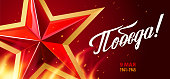 Victory Day. 9 May. Great Russian holiday. Inscriptions: Victory! 9 May. Red star and flame with sparks on a dark background. Template for Greeting Card, Poster and Banner