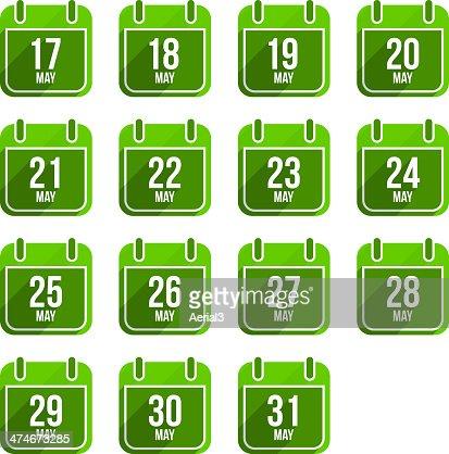 May vector flat calendar icons. Days Of Year Set 16 : stock vector