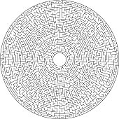 Black and white round maze