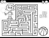 Black and White Cartoon Illustration of Education Maze or Labyrinth Activity Game for Children with Little Boy and Basketball Coloring Book