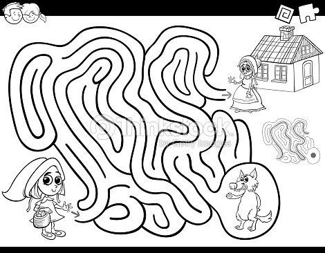 Labyrinth Farbbuch Mit Wenig Red Riding Hood Vektorgrafik | Thinkstock