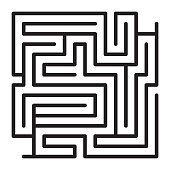 Maze game scheme. Square labyrinth sample vector illustration.