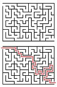 Maze / Labyrinth with entry and exit. Vector illustration isolated on white background