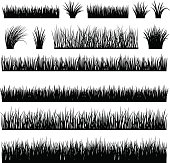 Meadow silhouette set for horizontal banners. Vector black grass and reeds silhouettes isolated on white background