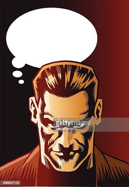 Mean Looking Man With Speech Bubble