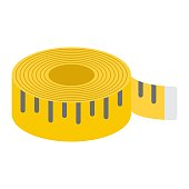 Measure tape flat icon, centimeter and size, fitness ruler sign vector graphics, a colorful solid pattern on a white background, eps 10.