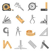 Set of sixteen measuring tools icons