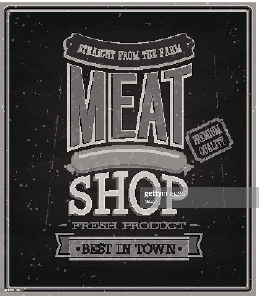 Loja de carne-Chalkboard. : Arte vetorial