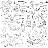 meat,fish and cheese,vector food set, ink drawing vector elements
