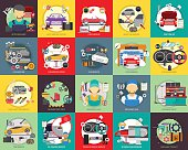 Set of great flat icons design illustration concepts for mechanic, car repair, industrial, transport, business concept, and much more.