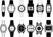 Mechanical and electronic sport hand watches in monochrome style. Vector pictures set isolate on white. Wristwatch digital electronic and mechanical, fashion and sport illustration