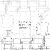 Mechanical Engineering drawing. Engineering Drawing Background. Blueprint vector.